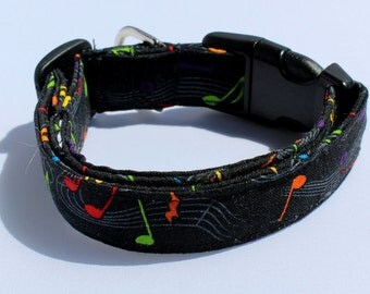 Music Notes Black Dog Collar Size XS, S, M, L Musical
