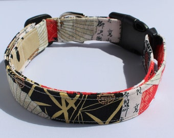 Asian Art Dog Collar Size Large