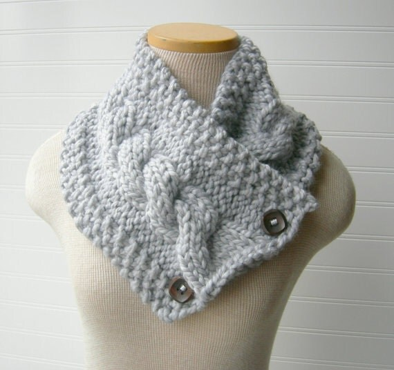 Smokey Grey Chunky Knit Scarf, Cozy Cowl Neckwarmer