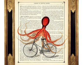 Octopus driving a Bike Bicycle - Vintage Victorian Book Page Art Print Steampunk