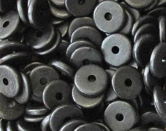 25 Black 13mm Washers Greek Ceramic Beads