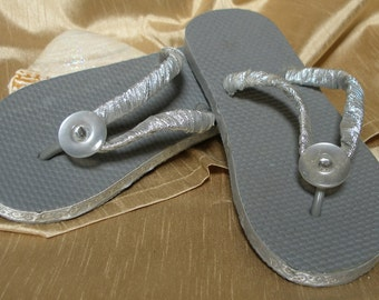 One of a Kind - Hand Decorated - Girl's Flip Flops 2/3 (gray, silver & white)