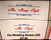 Embroidered Kitchen Towel, Housewares, Pair ofKitchen Towels great for Wedding Showers
