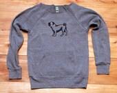 cute as a button Pug Sweatshirt, Pug Sweater, S,M,L, XL