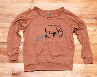 SALE Elephant Shirt, Gift for Mom, Slouchy Pullover, Yoga Top