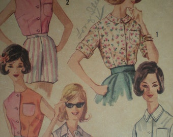 1960s Simplicity Button Front Blouse in 5 Styles, Sewing Pattern 3745, Size 12, Bust 32