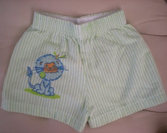 1970s Lion Green and White Striped Shorts, 6-9 Months