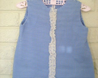 1960s Mod Blue and White Jumper or Sundress, Size 12 months