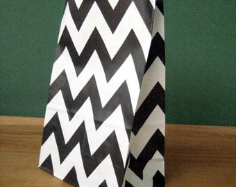 CLEARANCE SALE - Black Chevron Stand Up Paper Bags -12- Candy Buffet, Party Favor, Wedding Favor - 5 x 7 Flat Bottom Bags
