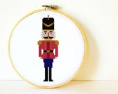 Counted Cross stitch Pattern PDF. Instant download. Nutcracker. Includes easy beginner instructions.