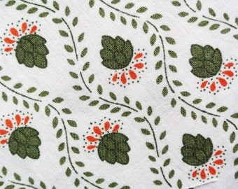 Vintage 1960s quilt fabric in highquality prewashed unused cotton with smaller olive green flower pattern on white bottomcolor