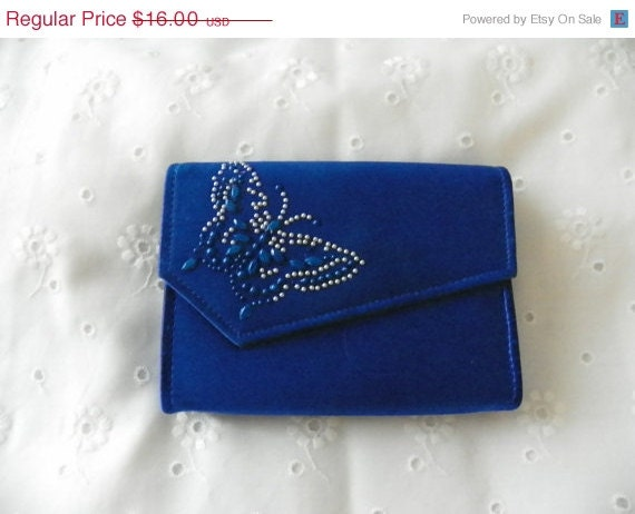 Gifts for Christmas Upcycled Royal Blue Evening Clutch Butterfly Wedding Bride Bridesmaid Holiday Special Occasion Gift