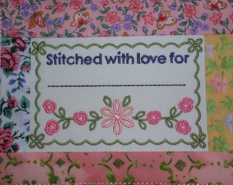 Quilt Label Embroidered with Flowers and Pieced Frame