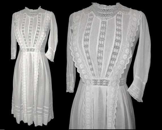Late 1800s 1900s Dress Edwardian Wedding Lawn Dress Tea Length