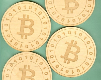 Wood Coasters Bitcoin (4) - Laser Cut Etched (CE-253)