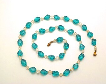 Vintage Teal Glass Bead Necklace Pinched Glass Beads with Clear Glass Bead Spacers 28 Inch Long Necklace Glassy Blue Green Beads
