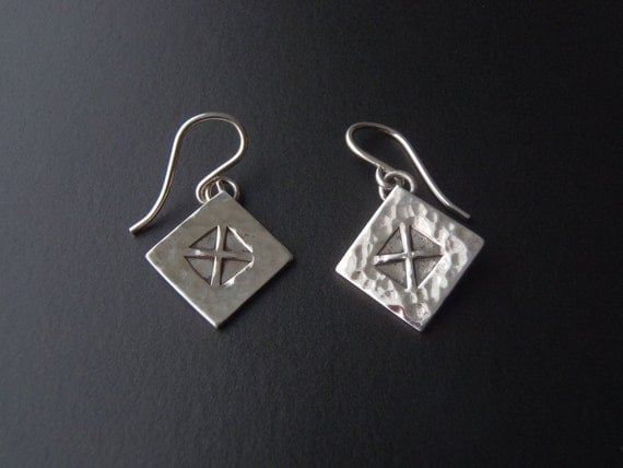 Sterling Silver Earrings with Stamped Equilateral-Cross Design Pierced Ear Wires Original New Handcrafted Jewelry