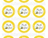 Yellow Bumble Bee Thank You Favor Tags - DIY - PRINTABLE SHEET