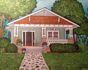 Custom Home Illustrations, house warming gifts, anniversary gifts