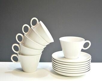 1960 Cloud Nine Teacups 1960s Vintage Franciscan Tea Coffee Sevice For 6 Eames Era Tableware Pure White Cups Saucers Midmod Dinnerware