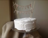 Custom baby shower  Cake Topper Banner in tea dyed cotton, pink hearts