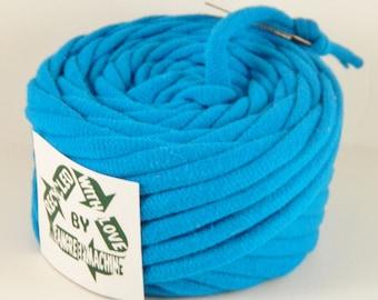 Electric Blue 33 Yards Recycled T-Shirt Yarn, T Shirt Yarn, Bulky
