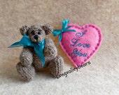Hand Crocheted Bear, Crochet Artist Bear made from Thread