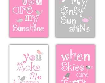 "Pink Nursery Art Prints, You are my sunshine prints 4-8x10"" prints, nursery, or playroom, or a"