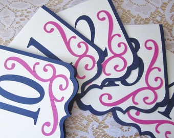 """Navy and FuschiaTable Numbers - """"Flourish"""" in Navy Ivory and Fuschia - Choose Your Colors"""
