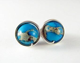 Turquoise Earrings Silver Wire Wrap Earrings Nickel Free Earrings Wire Wrap Jewelry Small Stud Blue Jasper Earrings