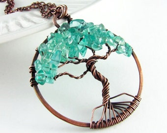 Tree Of Life Pendant Wire Wrapped Jewelry Turquoise Apatite Stone and Copper Jewelry Wire Wrapped Pendant