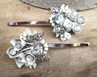 Wedding Jewelry Hairpins White Bridal Hair Accessory Vintage Rhinestone Accessories Hairpiece