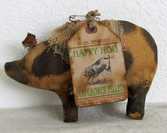 Items Similar To Handmade Primitive Spotted Pig Primitive