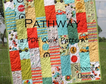 Quilt Pattern Pathway Layer Cake Baby Quilt and Throw Size Quilting Sewing Instructions Instant Upload PDF File Quick Simple Easy