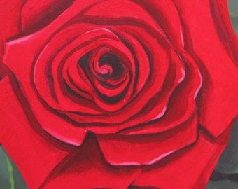 Acrylic Painting Single Red Rose