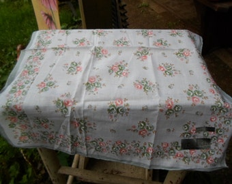 Vintage Handkerchief 1950s to 1960s Made in Italy Hanky Floral Green and Peach Colored NOS Manoliva