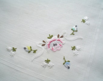 Hankie with Ribbon Rose Hand Embroidered Vintage Handkerchief