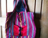 Vintage, tote, oversize, hobo bag, Spanish, striped, Guatemala, large, tribal, red, yellow, green- Stripes Around the World