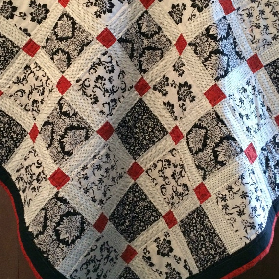 Modern Baby Quilt Red Black And White Patchwork Crib