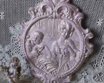 Antiqued pink wall medallion, chalkware vintage, repainted vintage, European elegant, wall decor, romantic cottage