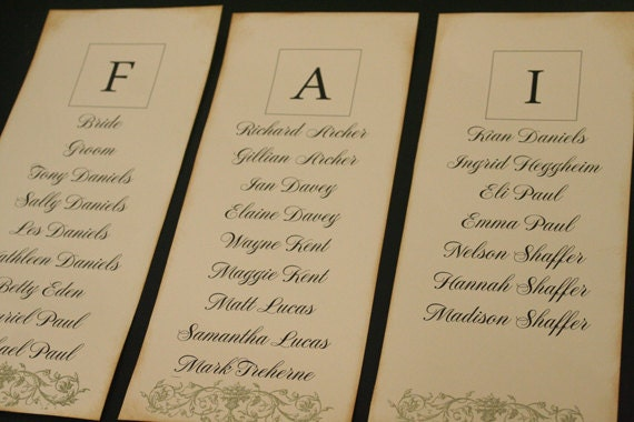table plan cards wedding