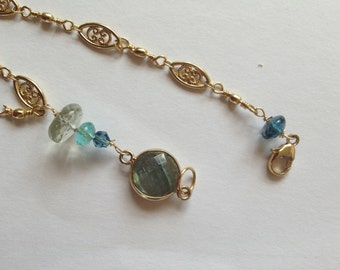 Labradorite Bezel, london blue topaz, Green Amethyst, Teal Apatite, Gold overlay Bracelet, -Mermaids dream, Etsy jewelry, Lilyb444