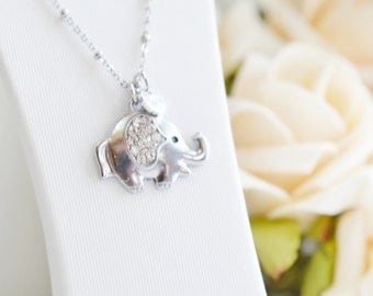 Lucky Elephant Necklace, Elephant Charm Jewelry,Personalized Cute Elephant Necklace, Initial Elephant, Good Luck Animal Necklace, Bridesmaid