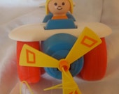 Fisher Price Vintage  1980 Airplane Pull Toy Epsteam  SHPTeam