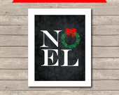 Christmas NOEL Printable, Chalkboard Art Print, Red and Green NOEL Art