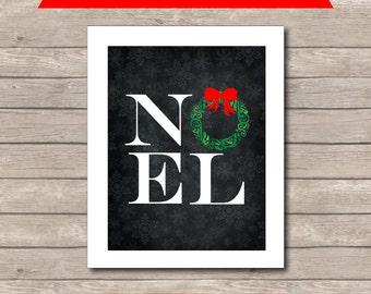 Christmas NOEL Printable, Chalkboard Art Print, Red and Green NOEL Art
