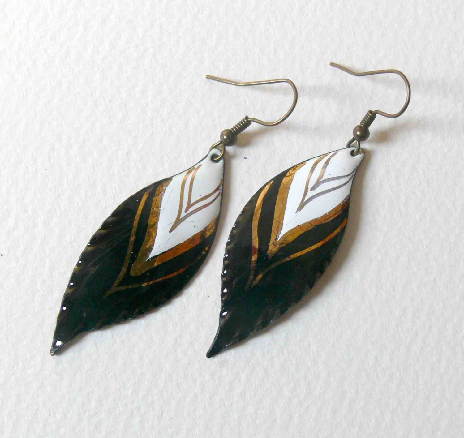 Native american feather earrings 24 carat gold by for Native american feather jewelry