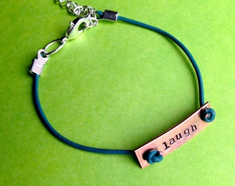 Custom Hand Stamped Leather Bracelet- Copper Rectangle Charm- You Choose Phrase, Font, and Color