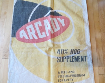 Vintage Feed sack fabric bag Advertising Color Graphics feed supplement by Arcady of Chicago Illinois