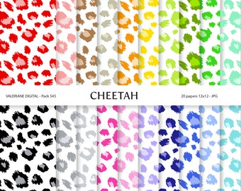 20 Digital papers animal print, Cheetah Patterns in bright Colors INSTANT DOWNLOAD 545